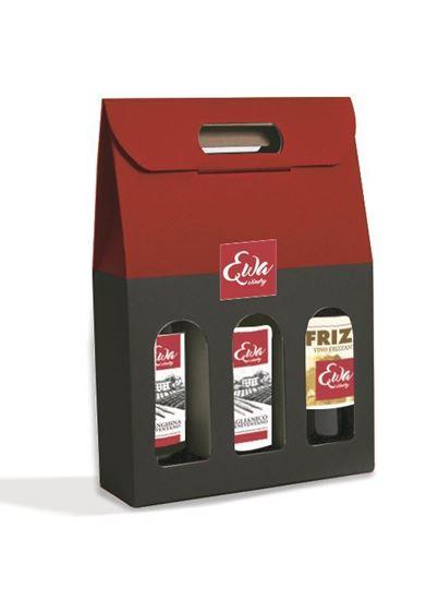 Foto de Estuche de carton acompañado de tre botellas de vino